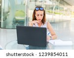 young business woman in summer... | Shutterstock . vector #1239854011