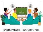 people cartoon watching live... | Shutterstock .eps vector #1239890701
