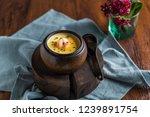 crystal shrimp steamed egg | Shutterstock . vector #1239891754
