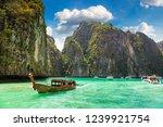maya bay on koh phi phi leh... | Shutterstock . vector #1239921754