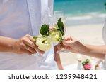 wedding glasses  beach wedding...   Shutterstock . vector #1239948421