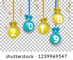 christmas balls hanging with... | Shutterstock .eps vector #1239969547