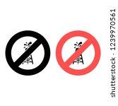 oil rig ban  prohibition icon....