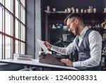 smiling professional with retro ... | Shutterstock . vector #1240008331