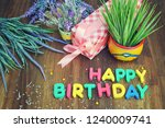 happy birthday card with... | Shutterstock . vector #1240009741
