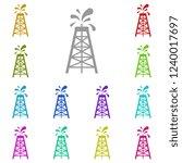 oil rig icon in multi color....