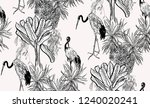 seamless pattern black and...   Shutterstock .eps vector #1240020241