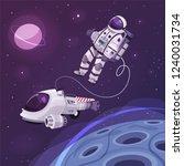 cosmonaut character in outer... | Shutterstock .eps vector #1240031734