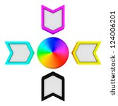 CMYK arrows pointing to the spectrum - stock photo