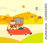 travel by car concept. young... | Shutterstock . vector #1240063504
