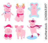 new year's set of cute pigs.... | Shutterstock .eps vector #1240065397