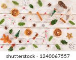 christmas decoration on wooden... | Shutterstock . vector #1240067557