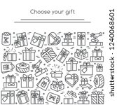 banner with wrapped gift boxes... | Shutterstock .eps vector #1240068601