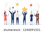 cartoon happy little people.... | Shutterstock . vector #1240091521