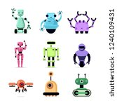 group of cartoon robots on... | Shutterstock .eps vector #1240109431
