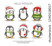 Set Cute Penguin Character...