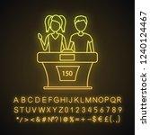 quiz bowl neon light icon.... | Shutterstock .eps vector #1240124467