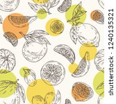 seamless pattern with citrus... | Shutterstock .eps vector #1240135321