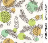 seamless pattern with spruce ... | Shutterstock .eps vector #1240135324