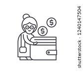 pension contribution line icon...   Shutterstock .eps vector #1240147504