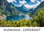 marvelous summer scene of... | Shutterstock . vector #1240182637