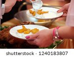 roasted meat and baked potatoes ... | Shutterstock . vector #1240183807