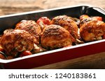 roasted chicken drumstick with... | Shutterstock . vector #1240183861