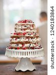 naked cake with cream ... | Shutterstock . vector #1240183864