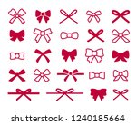 red bow icon set | Shutterstock .eps vector #1240185664