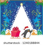 penguin with sleds   funny... | Shutterstock . vector #1240188844