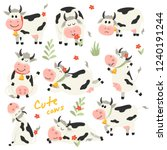 Set Of Cute Cows Character In...