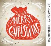 santa bag with lettering merry...   Shutterstock .eps vector #1240194424