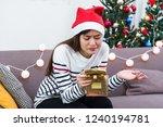 asian woman upset when open... | Shutterstock . vector #1240194781
