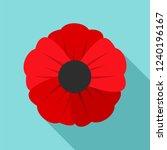 Garden Poppy Flower Icon. Flat...