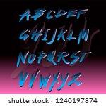 retrofuturistic alphabet font... | Shutterstock .eps vector #1240197874