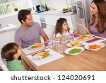 family talking around the... | Shutterstock . vector #124020691