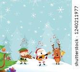santa reindeer elf playing... | Shutterstock .eps vector #1240211977