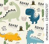 childish dinosaur seamless... | Shutterstock .eps vector #1240226737