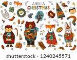 merry christmas animals set .... | Shutterstock .eps vector #1240245571