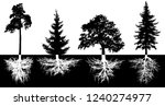 set of trees with roots  vector ... | Shutterstock .eps vector #1240274977