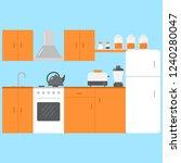 flat kitchen room. interior... | Shutterstock .eps vector #1240280047