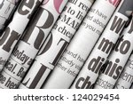 newspaper headlines shown side...   Shutterstock . vector #124029454