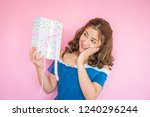 beautiful happy woman with gift ... | Shutterstock . vector #1240296244