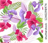 tropical flower seamless vector ... | Shutterstock .eps vector #1240298974