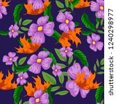 tropical flower seamless vector ... | Shutterstock .eps vector #1240298977
