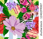 tropical flower seamless vector ... | Shutterstock .eps vector #1240299007
