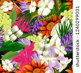 tropical flower seamless vector ... | Shutterstock .eps vector #1240299031