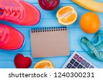 sport shoes  fruits and paper... | Shutterstock . vector #1240300231