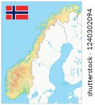 norway physical map. no text.... | Shutterstock .eps vector #1240302094