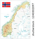 norway physical map isolated on ... | Shutterstock .eps vector #1240302097